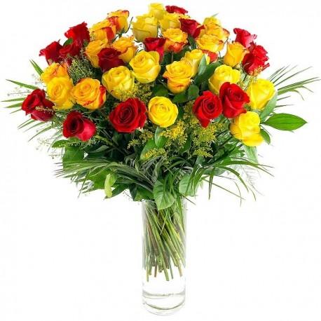 Rosas rojas y amarillas