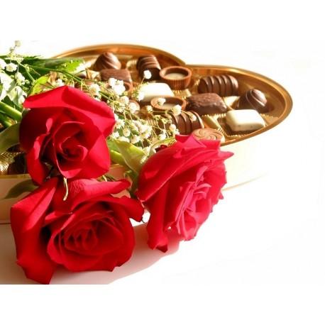 3 Rosas rojas con bombones