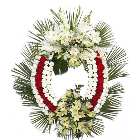 Corona de lirios y claveles