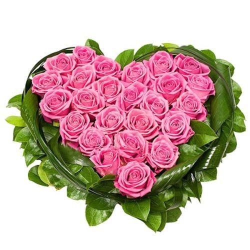 Corazón de 20 rosas rosas